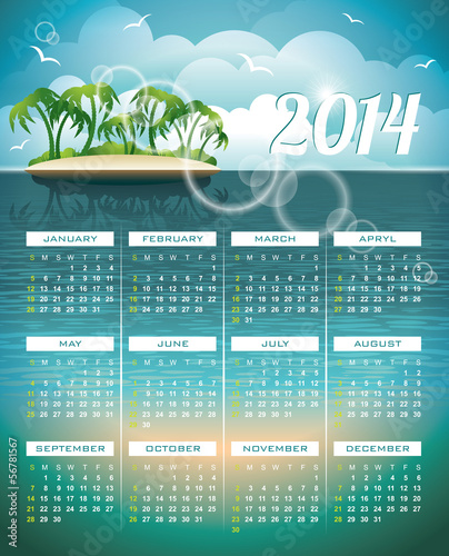 Vector Calendar 2014 illustration on a Holiday background.