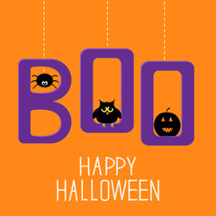 Hanging word BOO with spider, owl and pumpkin . Happy Halloween