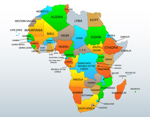 Political and location map of African countries, illustration