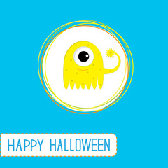 Cute cartoon yellow monster. Blue background. Happy Halloween ca