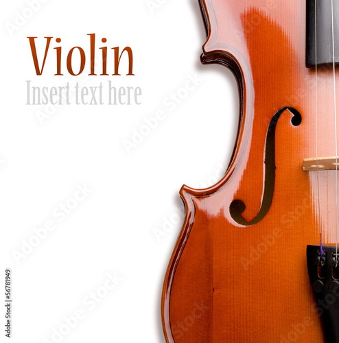 Violin on a white background. Insert your text