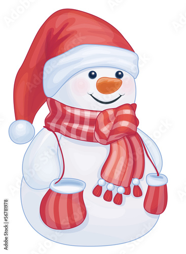 Vector of fun snowman isolated.