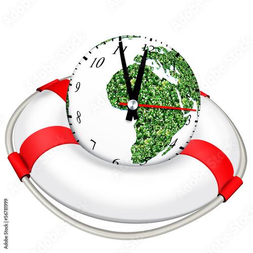 5 vor 12 - Globusuhr mit Rettungsring