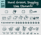 Sketchy shopping and e-commerce elements set