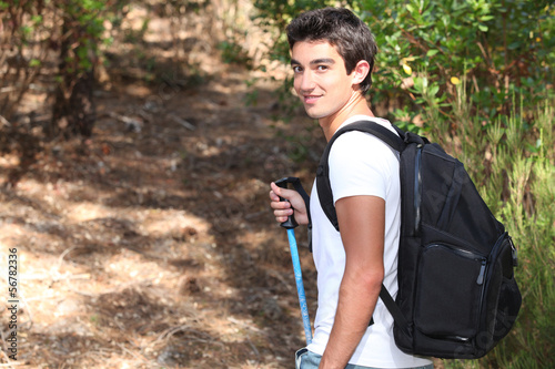 Young brunette with knapsack