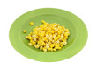 Gold White Corn Kernels Green Plate