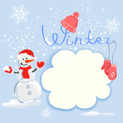 winter card with a snowman