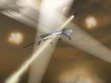 Drone militar bajo ataque poster