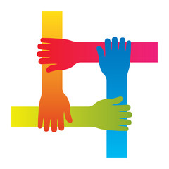 popular hand connecting teamwork icon concept isolated vector