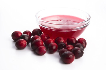 Jelly with Cranberries in Glass