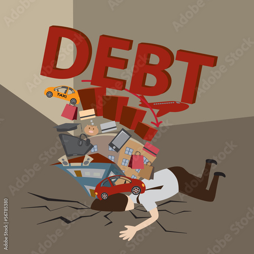Businessman with Debt. Debt concept.