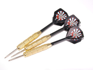 Set of three darts on a white background.