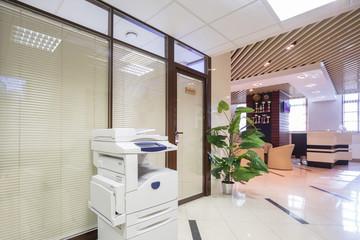 Light corridor near reception in business company