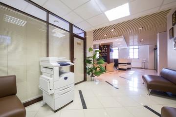 Large corridor near reception in business company