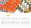 Heap of assorted pill packages isolated on white background