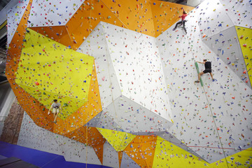 Climbers in a climbing gym