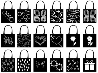 Set of shopping bags illustrated on white