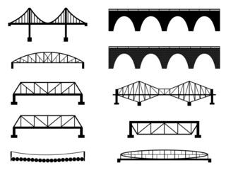 Set of bridge illustrated on white
