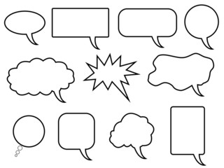 Set of speech bubbles illustrated on white