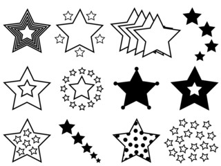 Set of stars illustrated on white background