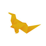 Orange dinosaur origami on white, vector format