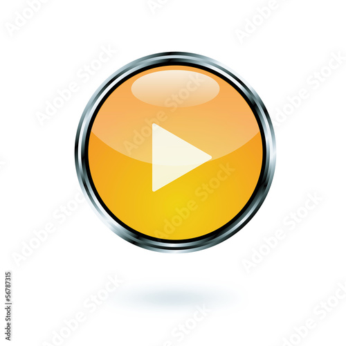 glossy play icon with shadow on white background, vector format