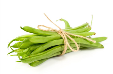 bunch of green beans isolated on white