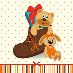 shoes with gifts -  vector illustration