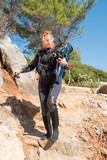 Young female scuba diver