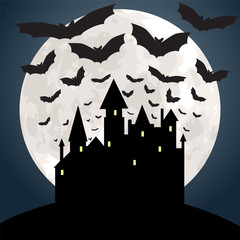 moon, castle and bats