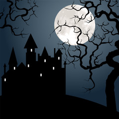 castle , tree and moon