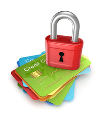 Red lock on colorful credit cards.