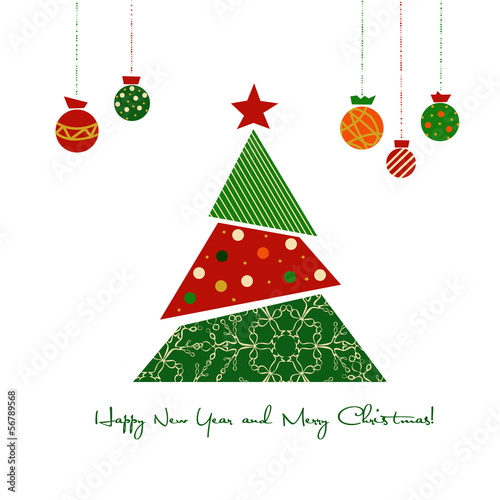 Christmas card with Christmas tree and balls on a white backgrou