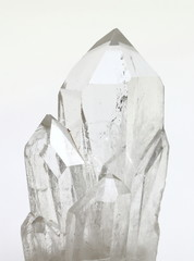 Quartz crystals on white