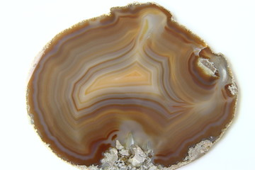 Agate gem stone isolated on white