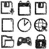 Set of grunge web icons
