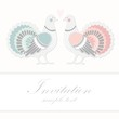 Wedding birthday card or invitation with dove pigeon, vector