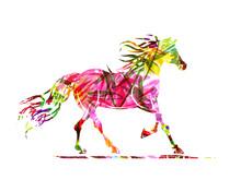 Croquis de cheval avec ornement floral pour votre design. Symbole du