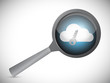 searching for a secure cloud. magnify glass