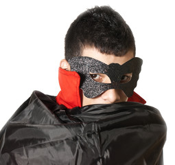 young man with mask and cape