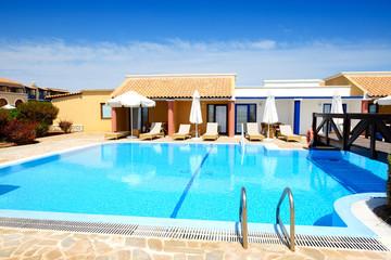 Swimming pool near luxury villa, Peloponnes, Greece