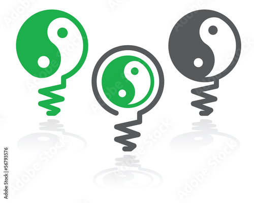 Ying-yang light bulb symbol