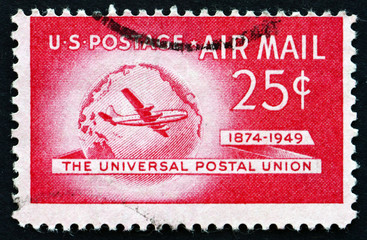 Postage stamp USA 1988 Boeing Stratocruiser and Globe