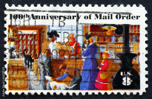 Postage stamp USA 1972 Rural Post Office Store