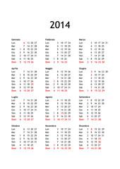 Calendar year 2014 Italian