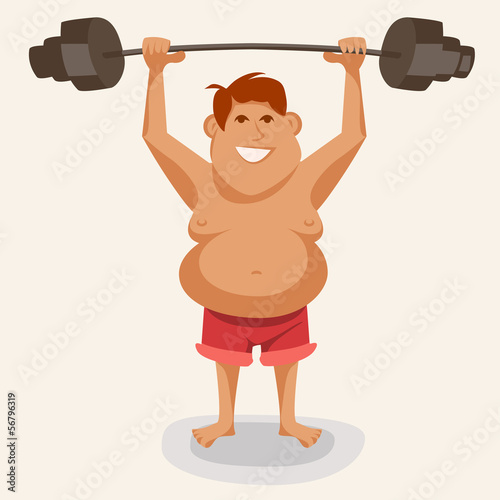 illustration of an athlete lifting a weight, fat man