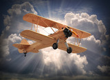 Retro style picture of the biplane. Transportation theme.