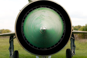 Extreme close up view of old jetfighter Mig-21.