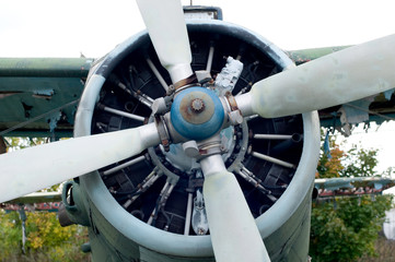 Engine of vintage propeller airplane.