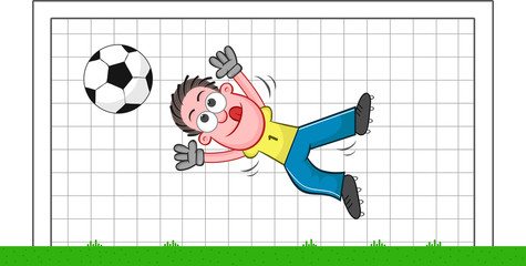 Cartoon Goalkeeper Catching Ball